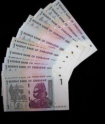 Lot of 25 x Zimbabwe 1 Dollar Banknotes-1/4 bundle-Paper currency