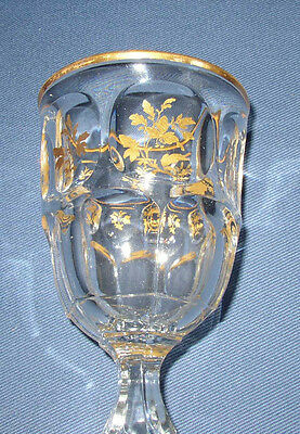 Super EAPG Ashburton Flint Goblet with hand-applied gold decoration: outstanding