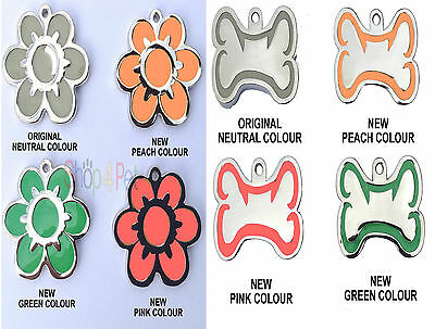 Pet ID Tag, Luminous Glow in the Dark Dog Tags Dog Bone- Flower ENGRAVED OPTIONS