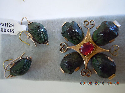 ANTIQUE VICTORIAN BROOCH & EARRINGS  Egyptian Scarab Beetle Gold Emerald Green
