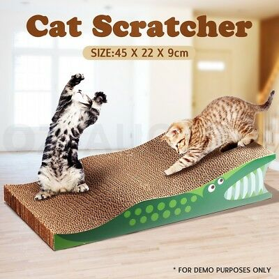 Pet Cat Scratcher Scratching Board Corrugated Cardboard Scratch Post Crocodile