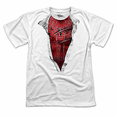 AMAZING Spiderman chest T Shirt - Funny comic super hero tee in sizes S-3XL