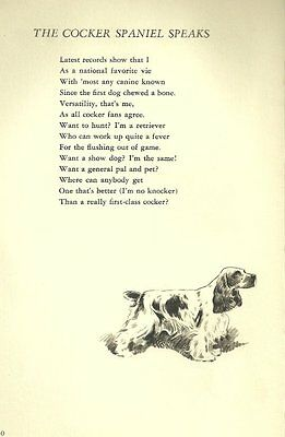 Cocker Spaniel Illustration and Poem - 1947 M. Dennis