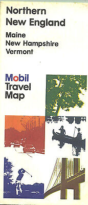 1976 Mobil Northern New England Vintage Road Map