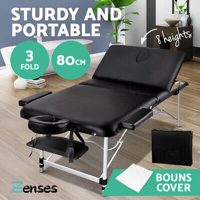 Zenses 80CM Portable Aluminium Massage Table 3 Fold Black Beauty Therapy