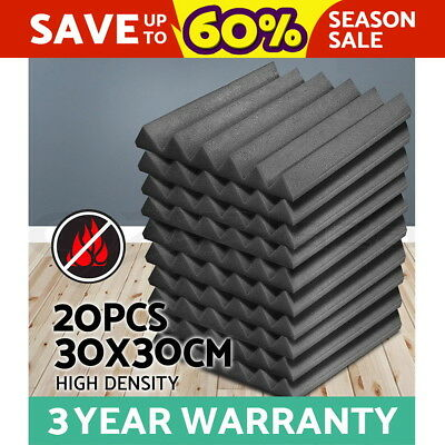 20 x Studio Acoustic Foam Panel Sound Absorption Proofing Tile Treatment Wedge