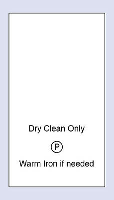 200 Dry Clean Only Sewing Washing Care Labels  Code PRNT0011
