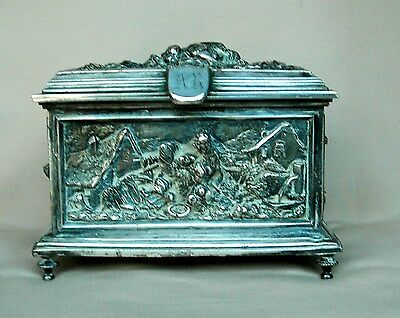 Antique French Silver Plated Music Box
