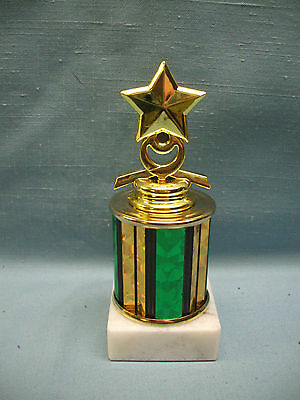 STAR trophy award white marble base green and gold column