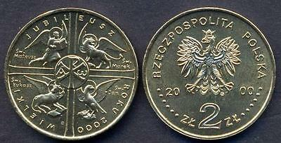 POLAND 2 zlote 2000 Holy Year UNC