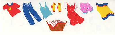 Mrs. Grossman's Stickers - Clothesline - Adult Clothes - Jeans, Dress - 4 Strips