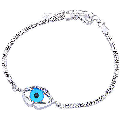 "NEW BEAUTIFUL PROTECTION CZ EVIL EYE .925 Sterling Silver Bracelet 6.5""+1""(Ext)"