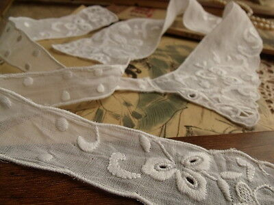 Edwardian ~HAND Embroidered White Vintage Lace Collar Petal RIBBONs Dots Dress