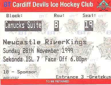 CARDIFF DEVILS v NEWCASTLE RIVERKINGS 28 Nov 1999 ICE HOCKEY TICKET, CARDIFF