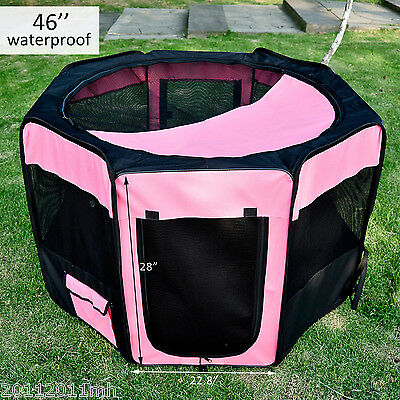 "46"" Pet Puppy Dog Exercise Kennel Soft Playpen Exercise Pen Folding Crate Oxford"