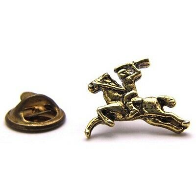 Vintage Small Stick Pin of Indian or Soldier Riding Horseback w/ Gun Gold Tone
