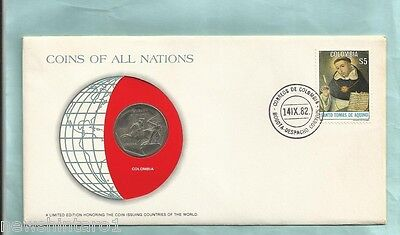 #d55.  Stamped  Envelope & Coin - Colombia