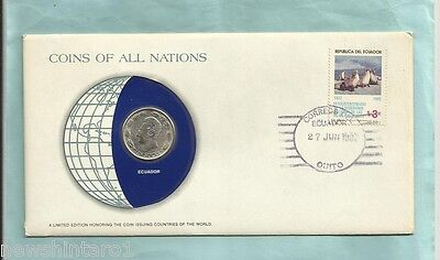 #d55.  Stamped  Envelope & Coin - Ecuador