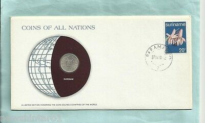 #d55.  Stamped  Envelope & Coin - Surinam