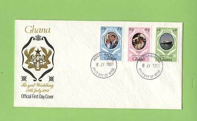 Ghana 1981 Royal Wedding, three imperf stamps First Day Cover