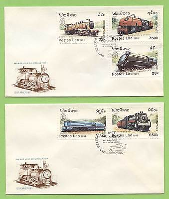 Laos 1991 Railway Locomotives set on two First Day Covers