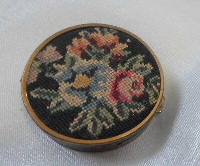 Victorian Needle Point Pill Box  1 Inch Round Size