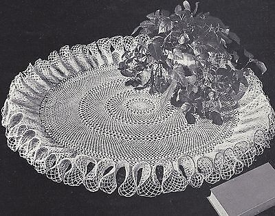 Vintage Crochet PATTERN to make Tea Table Ruffled Doily Mat Centerpiece 32 inch