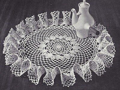 Vintage Crochet PATTERN to make Tiny Pineapple Ruffled Doily Mat Centerpiece