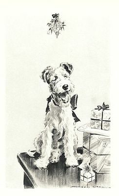 "Xmas Wire Fox Terrier - Dog Art Print - M. Dennis ""N"""