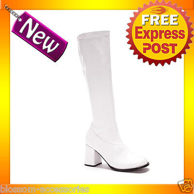 S4 Ladies Go Go Gogo White Knee High Adult Womens Boots Shoes 60'S 70'S Disco