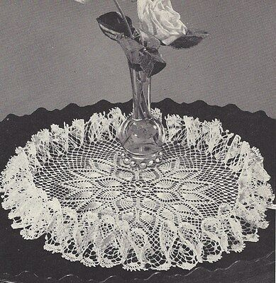 Vintage Crochet PATTERN to make Pineapple Ruffled Doily Mat Centerpiece