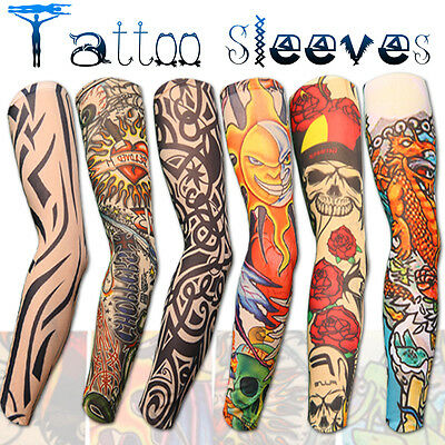 New Stretch Nylon Fake Tattoo Sleeves Arms Fancy Dress Uk - 6 Designs