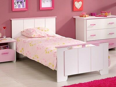 kinderbett mit g stebett in pink rosa wei m dchenbett 90x200 cm. Black Bedroom Furniture Sets. Home Design Ideas