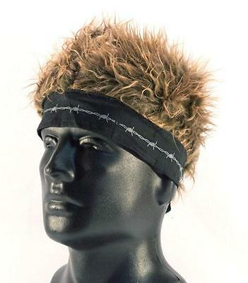 BANDANA HAT WITH SPIKED UP BROWN HAIR novelty cap funny MENS WOMENS new fake wig