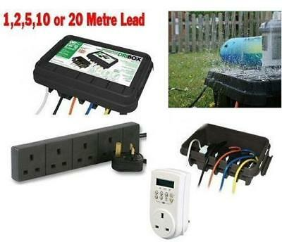 Waterproof outdoor mains enclosure with extension & digital timer garden box