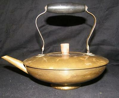 Antique Old Brass With Wood Handle Squat Tea Pot Kettle