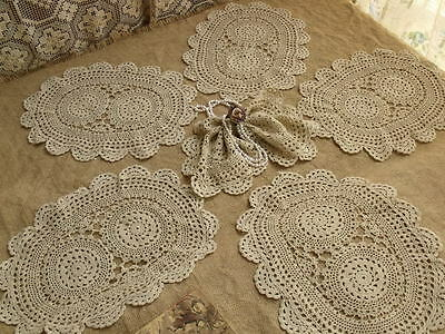 "SET 6PC Lot~Vtg Hand Crochet doily Snowflake TAUPE OVAL~AntiQue Lace SOFT 14"" L"