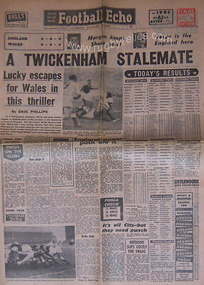 Football Echo,England v Wales 1962 Complete Newspaper Rugby Match Report