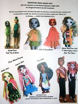 NG Creations Sew Pattern #3 Outfits Jeans fits Monster High Boy & Girl Dolls
