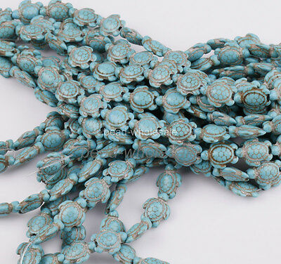 Howlite Turquoise Carved Turtle Spacer Beads 14mm x 17mm 16'' A Strand 2 Color