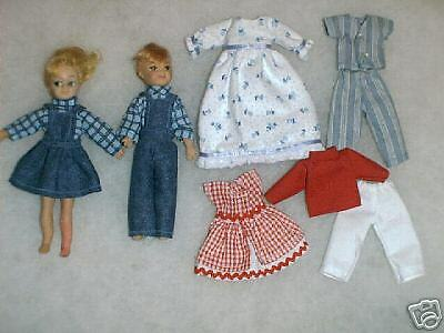 "Two NG Creations Sewing Patterns fit Vintage Mattel 6"" Tutti & Todd Dolls"