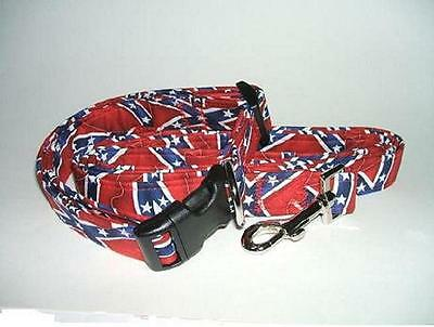 CONFEDERATE / REBEL FLAG PRINT DOG COLLAR AND LEASH SET (YOU PICK THE SIZE)