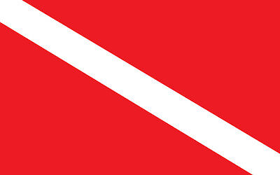 Dive Flag Sticker Red White Decal for scuba divers  4x6inch  #736