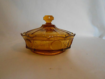 Vintage Fostoria Coin Glass Amber Candy Box/Lid