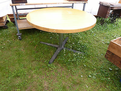 "post MODERN maple butcher block table RESTAURANT style IRON base 48"" dia x 30""h"