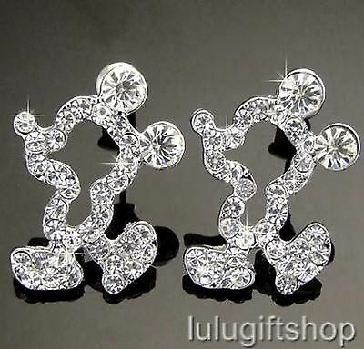 DISNEY MICKEY MOUSE WHITE GOLD PLATED STUD EARRINGS USE SWAROVSKI CRYSTAL LOVELY