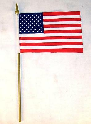 6 AMERICAN FLAG ON STICK 4 X 6 INCH united states of america USA bulk flags NEW