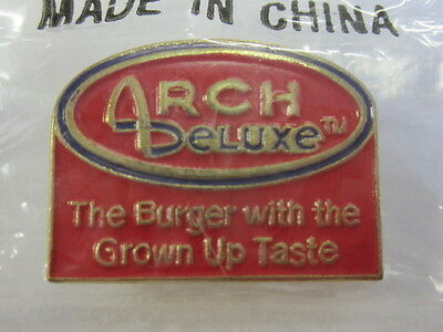 "McDonald's Arch Deluxe ""The Burger With The Grown Up Taste"" Pin New In Bag EX"