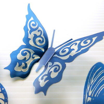 12 Clear Blue Butterflies for Cakes-Weddings-Toppers-Scrapbooking-Cards-Walls
