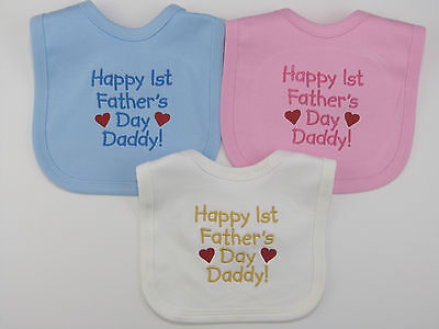 Happy 1st Fathers Day Embroidered Baby Velcro Bib Blue Pink White Boy Girl